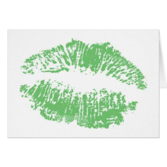 Green Lip Print Card