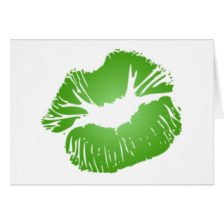 Green Lips Greeting Cards