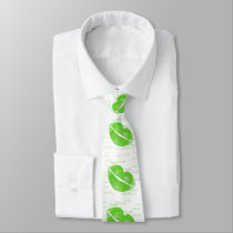 Green Lips - Irish Lipstick Blot St Patrick's Day Neck Tie