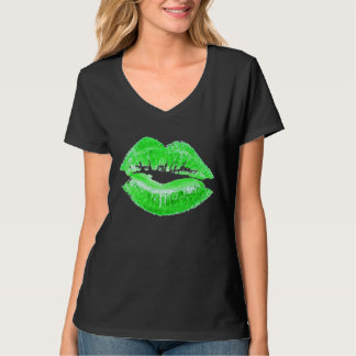 Green Lips Kiss Me I'm Irish St. Paddy's Day Shirt