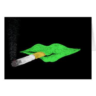 Green Lips Smoking Card