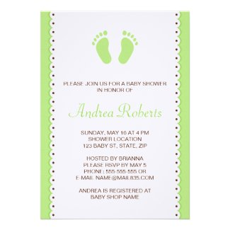 Green little feet baby shower invitation