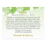 green little hearts wedding menu postcard