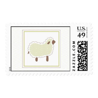 Green Little Lamb Postage Stamp