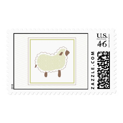 Green Little Lamb Postage Stamp