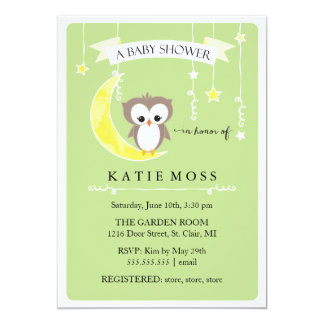"Green Little Owl | Baby Shower Invitation 5"" X 7"" Invitation Card"