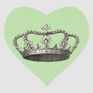 Green Little Prince Crown Baby Shower Favors Heart Sticker