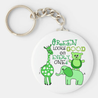 Green Living Message Gear Keychains
