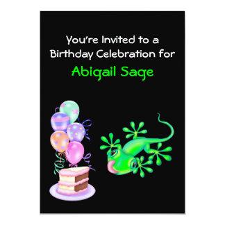 "Green Lizard Birthday Party Invitation 5"" X 7"" Invitation Card"