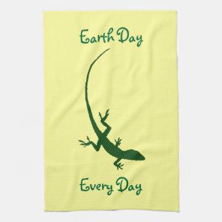 Green Lizard Earth Day Kitchen Towel