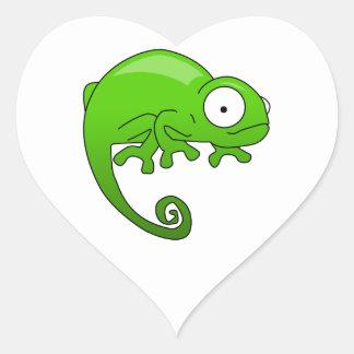 green lizard iguana cartoon heart sticker