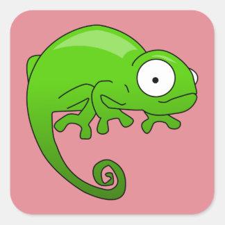 green lizard iguana cartoon square sticker
