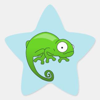 green lizard iguana cartoon star sticker