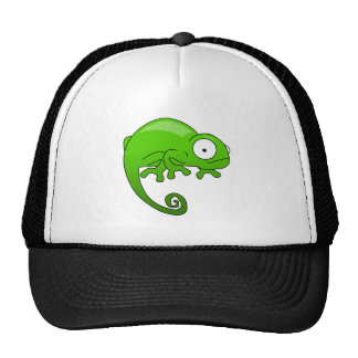 green lizard iguana cartoon trucker hat