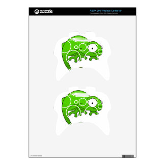 green lizard iguana cartoon xbox 360 controller skin