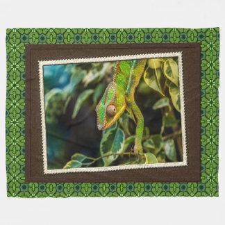 Green Lizard Iguana Photography Print Fleece Blanket