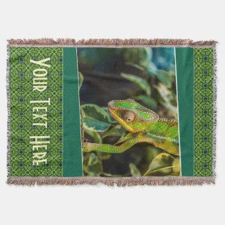 Green Lizard Iguana Photography Print Throw