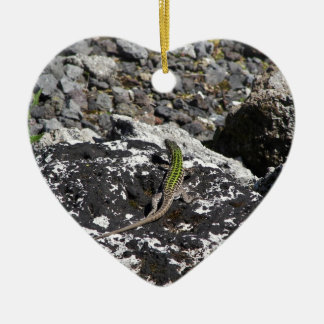 Green Lizard On A Rock. Double-Sided Heart Ceramic Christmas Ornament