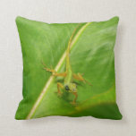 Green Lizard on Green Leaf Throw Pillow