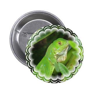 Green Lizard Round Button