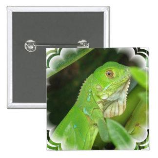 Green Lizard Square Pin