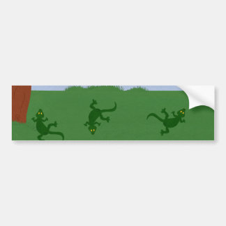 Green Lizards in Grass Cartoon Art Car Bumper Sticker