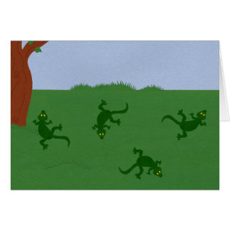Green Lizards in Grass Cartoon Art Card