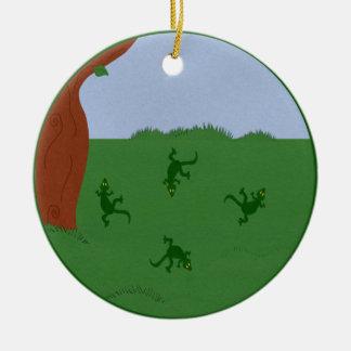 Green Lizards in Grass Cartoon Art Ceramic Ornament