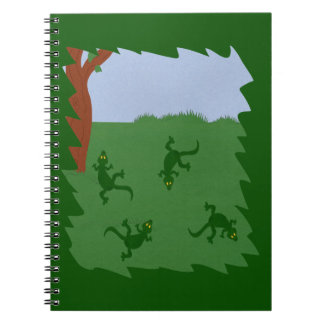 Green Lizards in Grass Cartoon Art Spiral Note Book