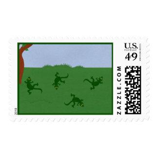 Green Lizards in Grass Cartoon Art Postage