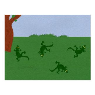 Green Lizards in Grass Cartoon Art Postcard