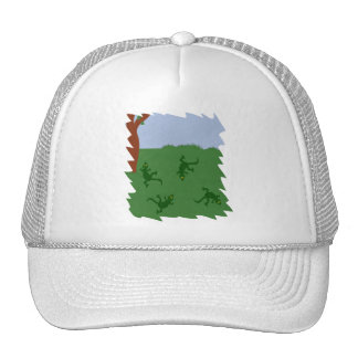 Green Lizards in Grass Cartoon Art Trucker Hat