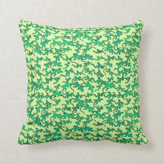 Green lizards on a lime green background throw pillow
