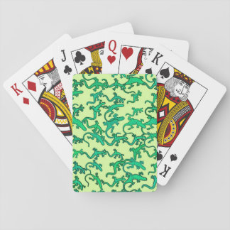 Green lizards on a lime green background playing cards