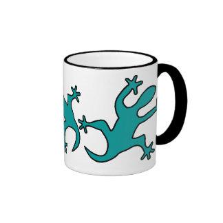 green lizzard ringer ceramic mug