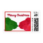 Green Llama Red LLama Christmas Postage Stamp