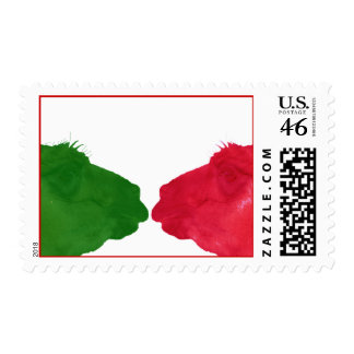 Green llama red llama happy holidays postage stamp