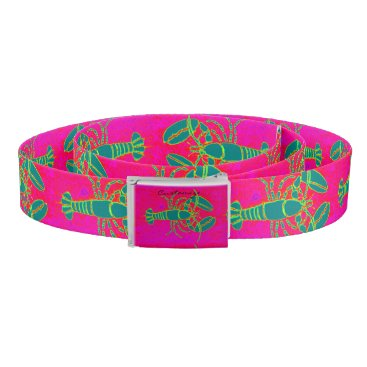 Beach Themed green lobsters Thunder_Cove pink Belt