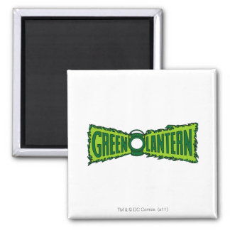 Green Logo Flames 2 Inch Square Magnet