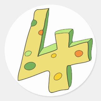 Green Lolly 4 Birthday Stickers