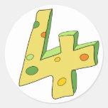 Green Lolly 4 Birthday Stickers (Round)