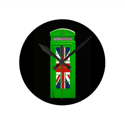 Green London phone box Round Wallclock