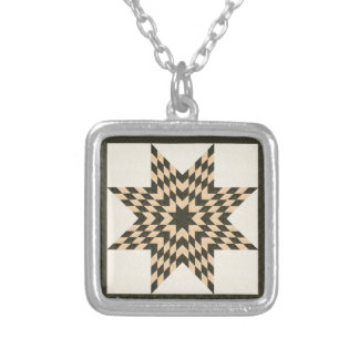 Green Lone Star Quilt Design Silver Plated Necklace
