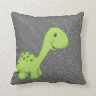 Green Long Neck Dinosaur Pillow on Gray
