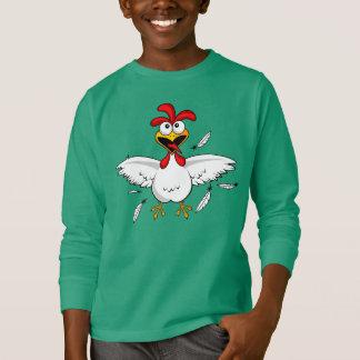 Green Long Shirt Funny Crazy Cartoon Chicken