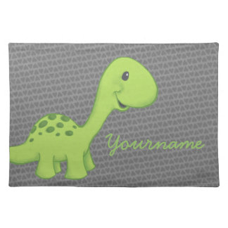 Green Longneck Dinosaur Placemat with Custom Name