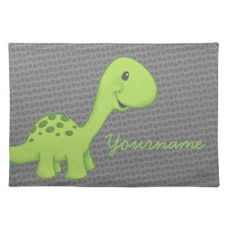 Green Longneck Dinosaur Placemat with Custom Name