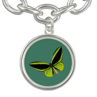 Green longwing butterfly design charm bracelet