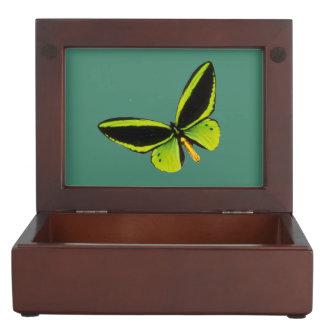 Green longwing butterfly design jewelry box