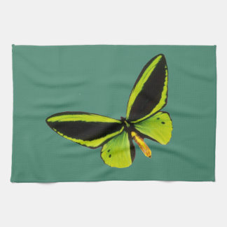 Green longwing butterfly design kitchen towels